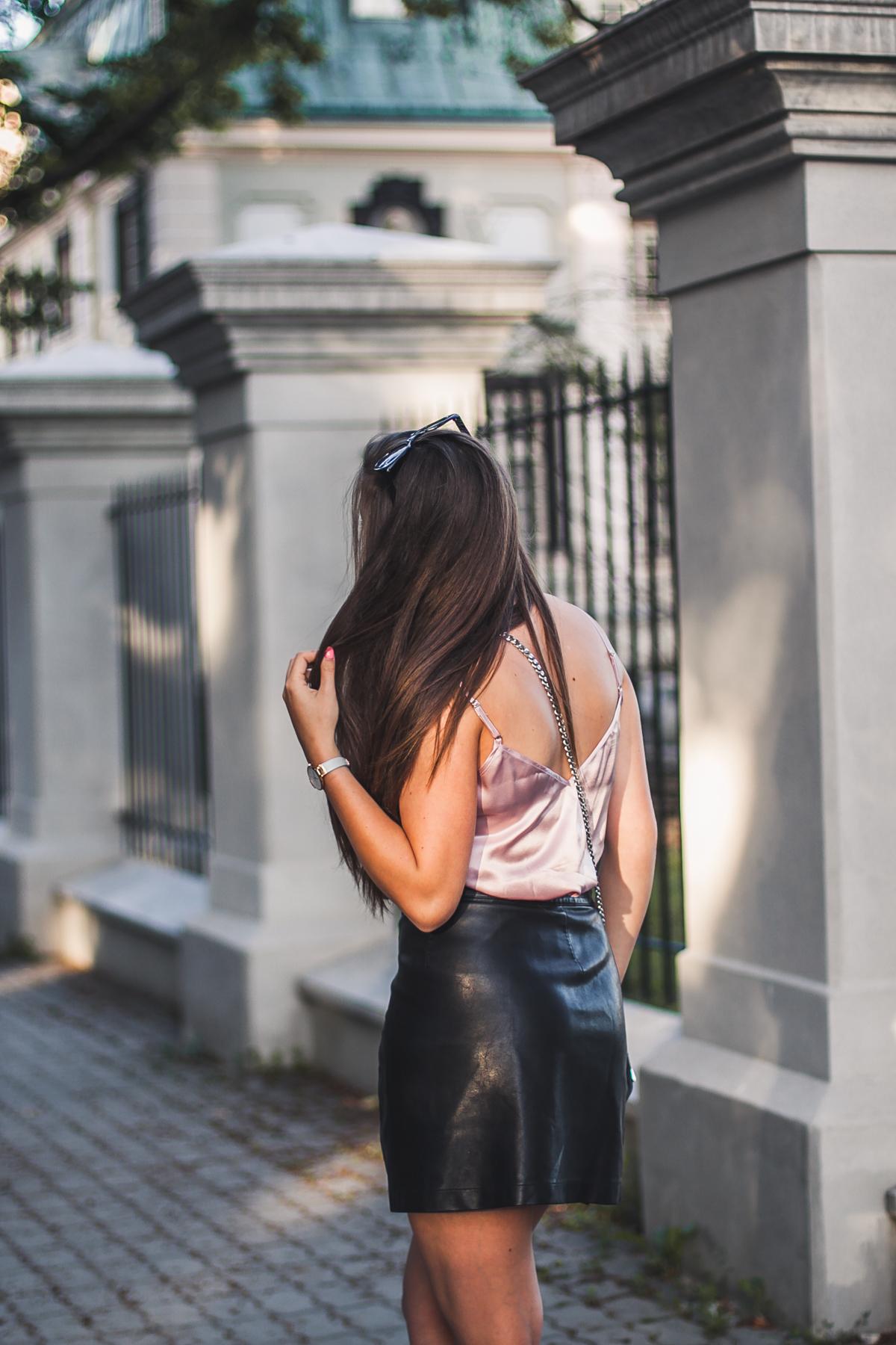 skórzana spódniczka blog modowy