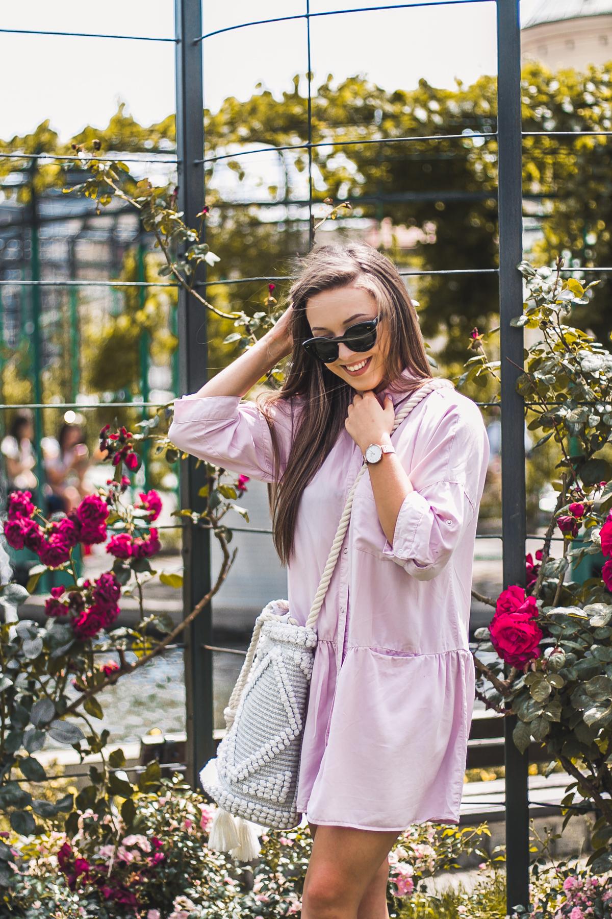 różowa koszulowa sukienka zara