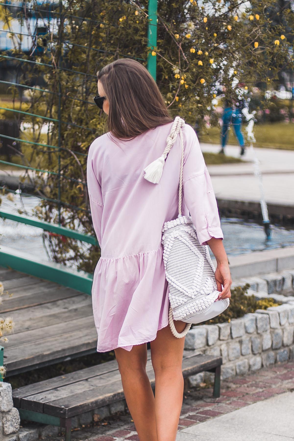 pastelowa sukienka zara stylizacja