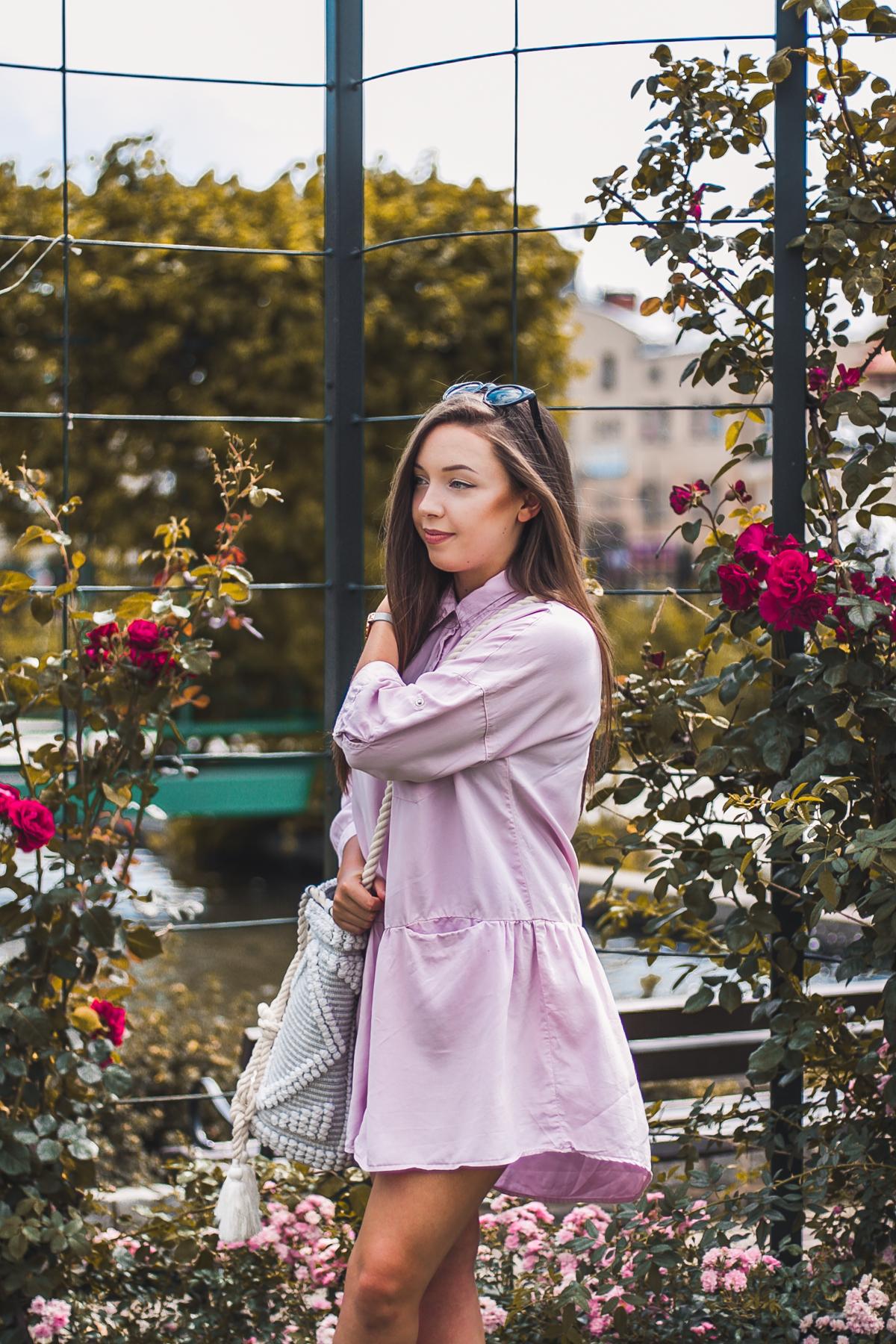 różowa sukienka blog