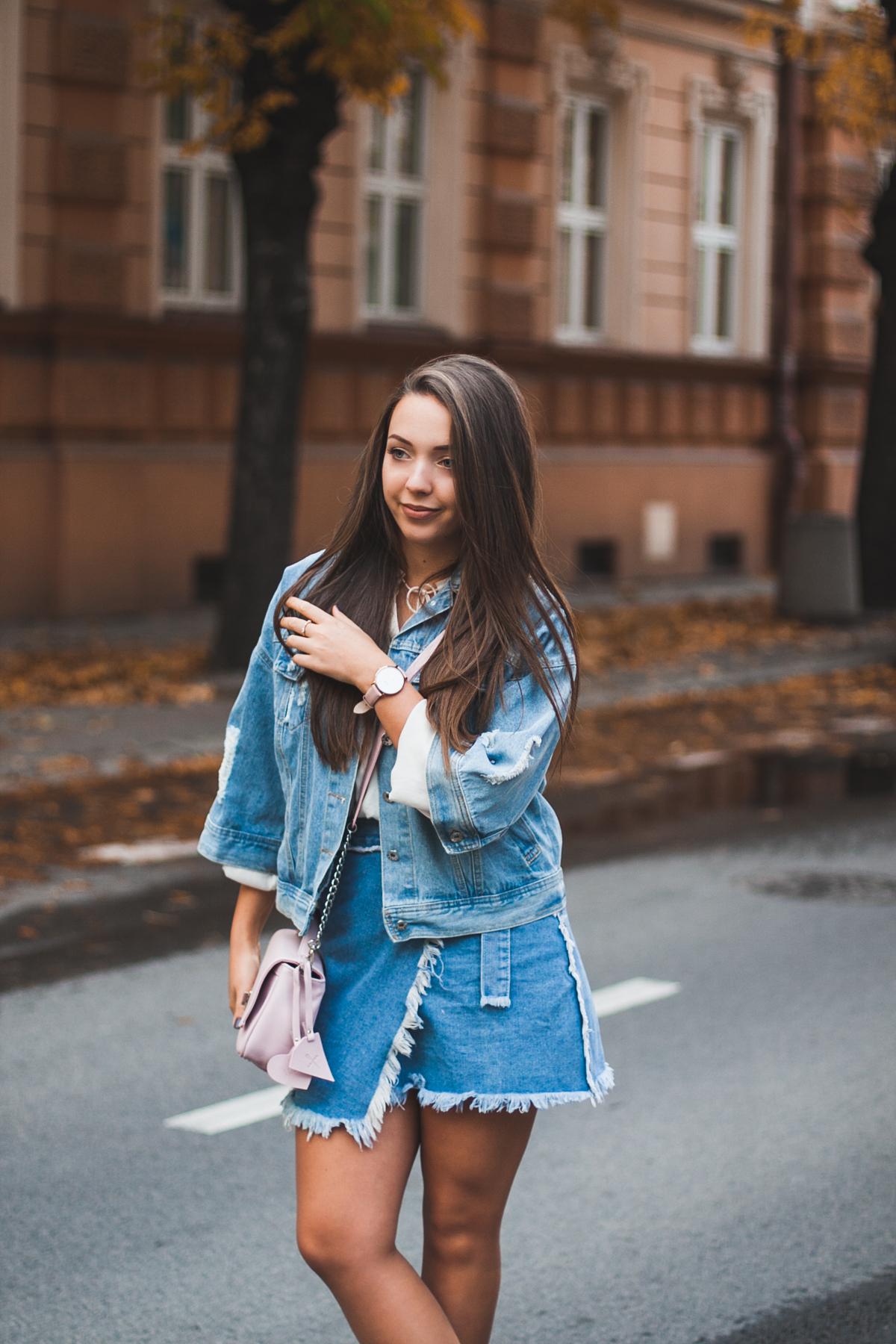 owijana spódnica jeansowa