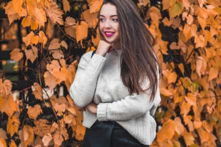 Złota jesień sweter zara