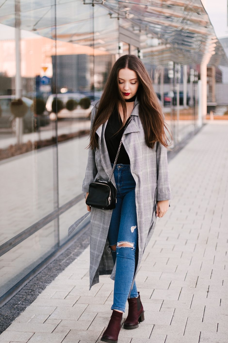 długi płaszcz w kratkę shein