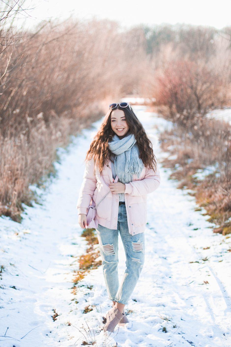 różowa puchowa kurtka zimowa