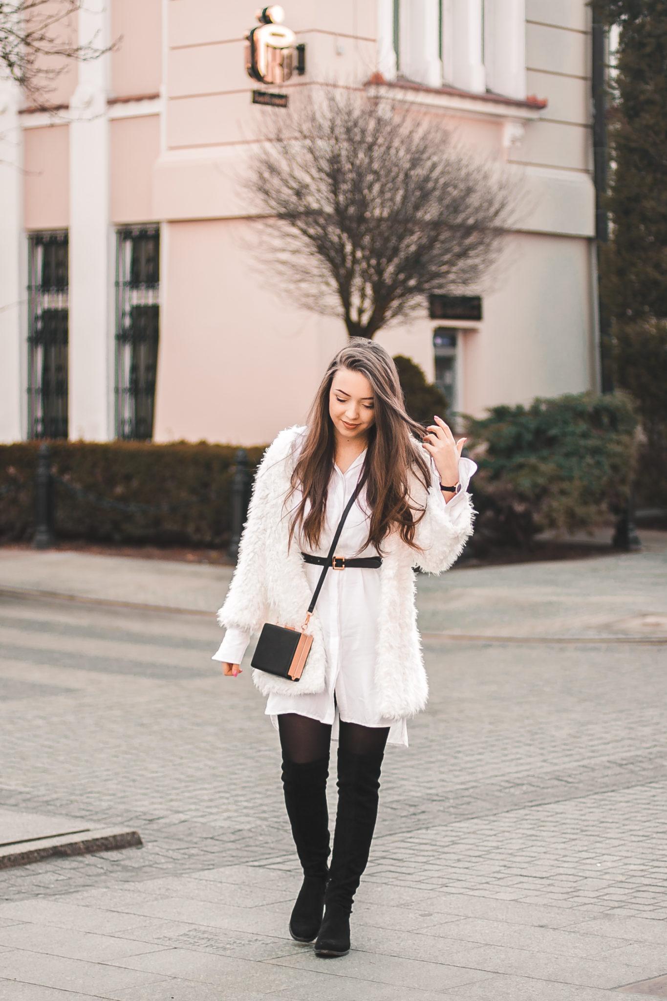 białe futro stylizacja z długimi kozakami za kolano