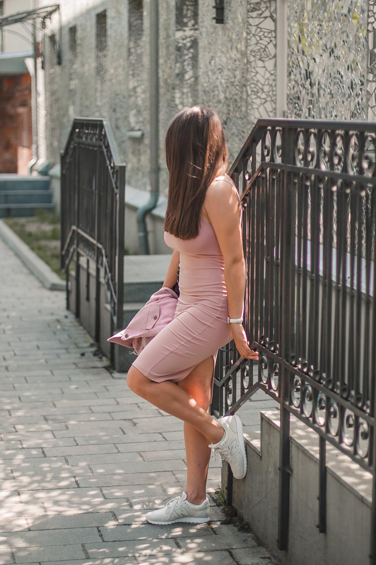 forever 21 sukienka różowa midi