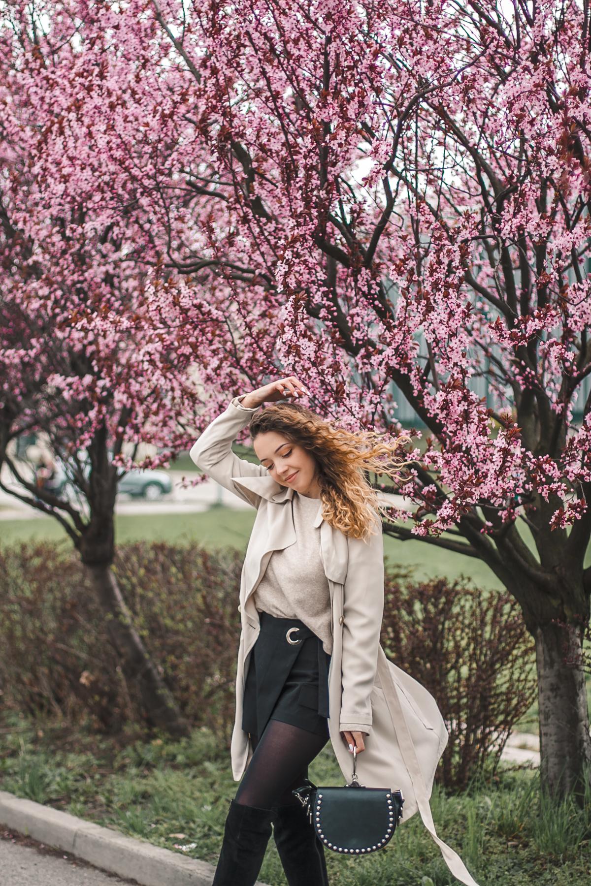 płaszcz beżowy na wiosnę