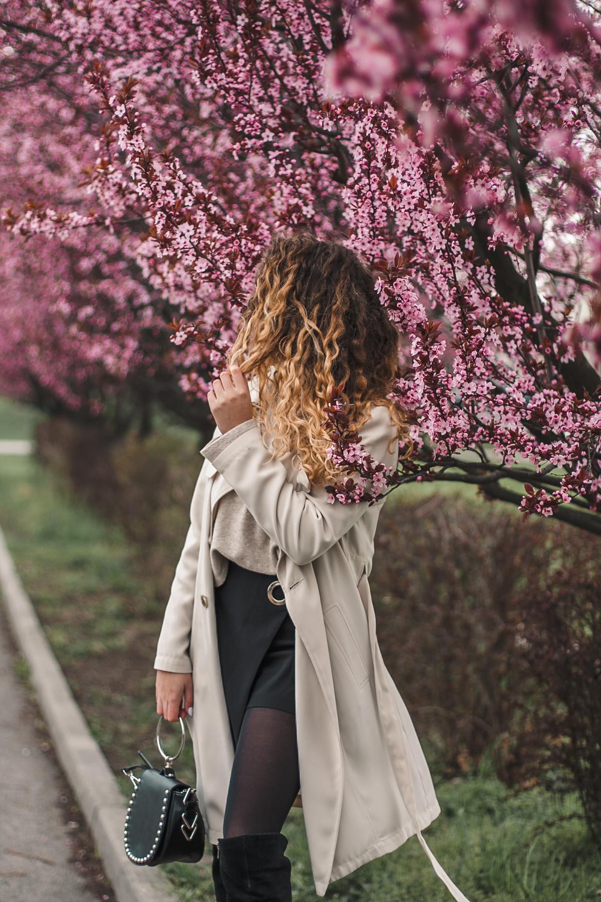 sesja zdjęciowa z różowymi drzewami