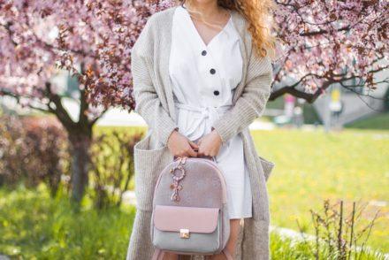 biała sukienka na wiosnę w stylizacji
