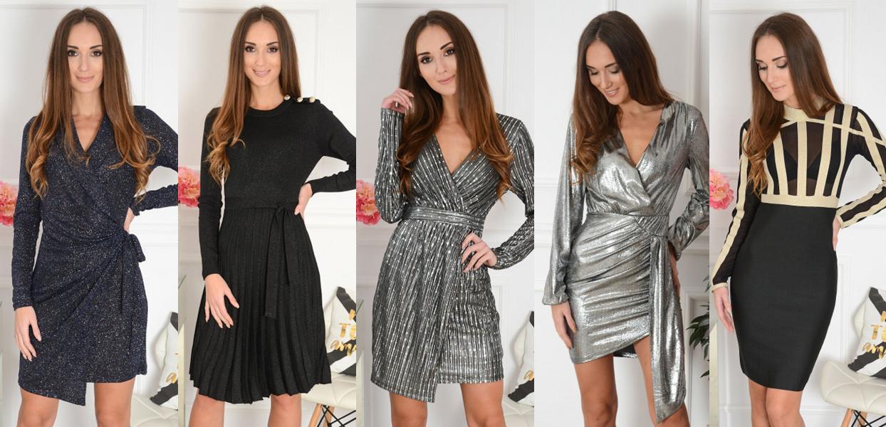 błyszczące brokatowe sukienki sylwester 2019