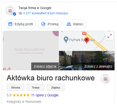 firmowa wizytówka google
